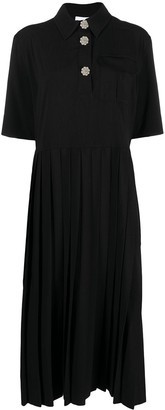 Ganni Embellished-Button Midi Dress