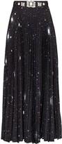 Christopher Kane Crystal-Embellished Celestial-Print Maxi Skirt