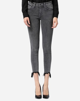 Express Flying Monkey Mid Rise Raw Hem Cropped Skinny Jeans
