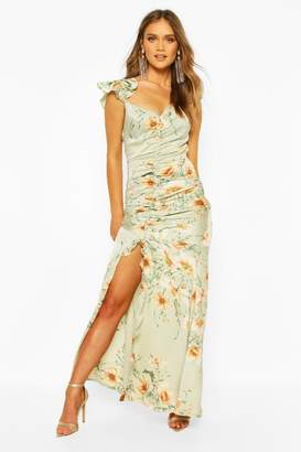 boohoo Floral Frill Strappy Sleeve Ruched Seam Split Maxi