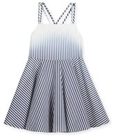 Milly Minis Ombre Stripe Poplin Fit-and-Flare Dress, Blue, Size 4-7