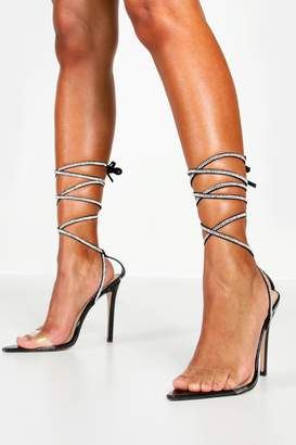 boohoo Diamante Wrap Clear Heel 2 Parts
