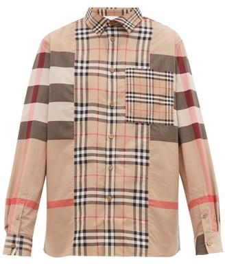 Burberry Patchwork Stretch-cotton Poplin Shirt - Beige