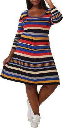 Marée Pour Toi Striped 3/4 Sleeve Fit & Flare Dress