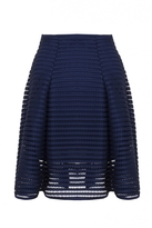 Quiz Curve Navy Mesh Ribbed Midi Skirt