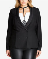 City Chic Trendy Plus Size Double-Breasted Blazer