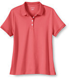 Classic Women's Plus Size Banded Short Sleeve Fem Fit Pima Polo-Clear Coral