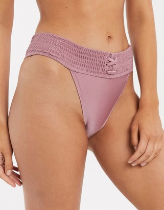 Topshop shirred hi leg bikini bottom in rose