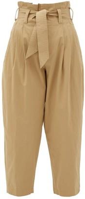 Mes Demoiselles Kala Paperbag-waist Cotton Trousers - Tan