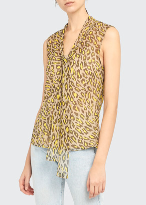 Theory Leopard-Print Sleeveless Tie-Neck Silk Top