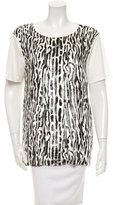 Giambattista Valli Short Sleeve Leopard Print Top