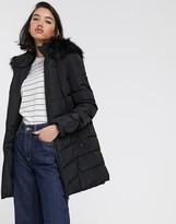 Only Minea long line padded coat with faux fur hood