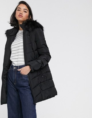 Only Minea long line padded coat with faux fur hood-Black