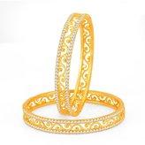 YoFashion Incredible Gold Plated Set OF 2 Australian Diamond Bangle Fashion Jewellery India