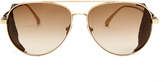 Bottega Veneta Intrecciato leather-detail aviator sunglasses
