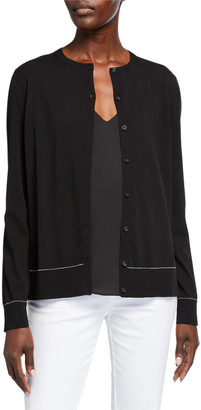 Lafayette 148 New York Cotton Crepe Button Cardigan
