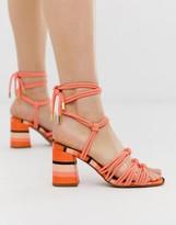 Asos Design DESIGN Hazel rope tie heeled sandals in pink stripe
