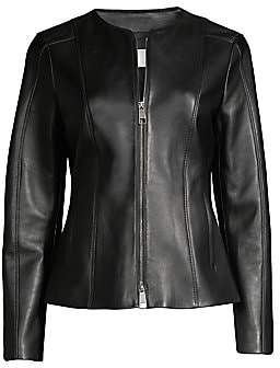 BOSS Women's Camille Collarless Leather Jacket