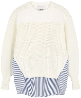 3.1 Phillip Lim White panelled cotton-blend jumper