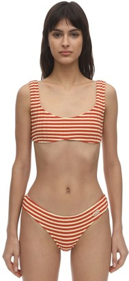 Solid & Striped Elle Striped Ribbed Lycra Bikini Top