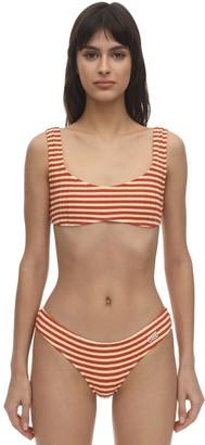 Solid & Striped Elle Striped Ribbed Lycra Bikini Top