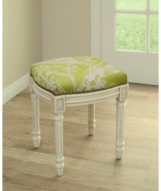 Bay Isle Home Ayaan Botanical Linen Upholstered Vanity Stool