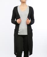 Black Ribbed Long Open Cardigan