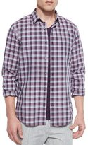 Vince Melange Plaid Sport Shirt, Plum