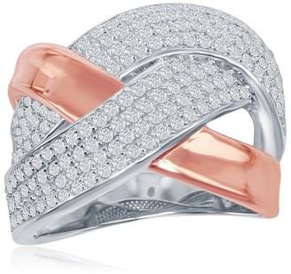 La Preciosa Sterling Sliver Solid High Polish Rose Gold Pave Zirconia Criss- Cross Double 'X' Ring - White