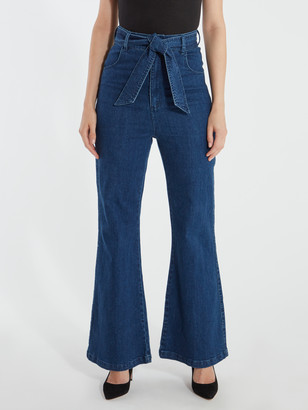 Finders Keepers Miami Denim High Rise Flare Jeans