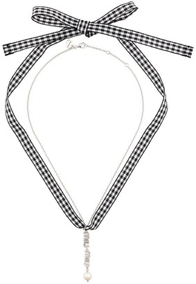 Miu Miu Swarovski crystal logo and pearl necklace