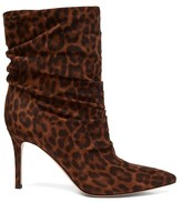 Gianvito Rossi Cecile 85 Leopard-print Suede Ankle Boots - Womens - Leopard