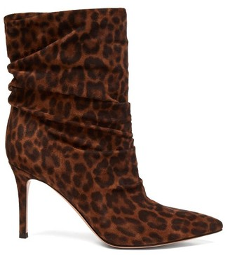 Gianvito Rossi Cecile 85 Leopard-print Suede Ankle Boots - Leopard