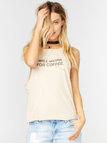 The Laundry Room Coffee Work High Neck Tank in Nude