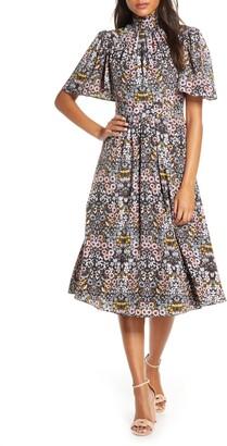 Julia Jordan Ruffle Neck Flutter Sleeve A-Line Dress