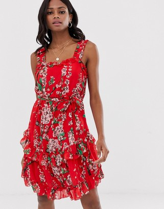 Vila ruffle cami floral mini dress-Red