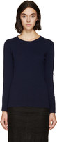 Burberry Navy Fringed Knit Sweater