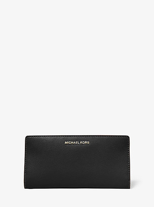 MICHAEL Michael Kors MK Large Crossgrain Leather Slim Wallet - Black - Michael Kors