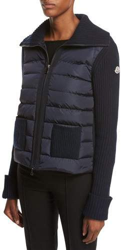 Moncler Maglia Zip-Front Knit Combo Jacket, Navy