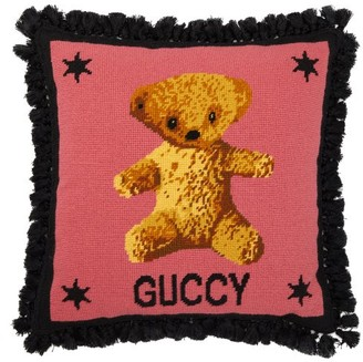 Gucci Teddy Bear-embroidered Wool Cushion - Pink Multi