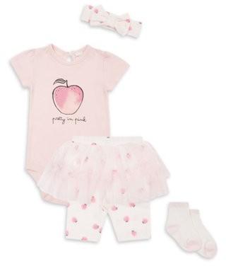 PL Baby by Petit Lem Newborn Girl Ruffled Short Sleeve Bodysuit, Skeggings, Headband & Socks, 4pc Outfit Set