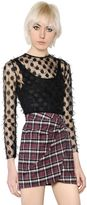 Giamba Fil Croup Dots Tulle & Plaid Wool Dress