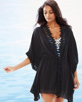 Soma Intimates Costa Brava Crochet Trim Kimono Swim Cover Up Black