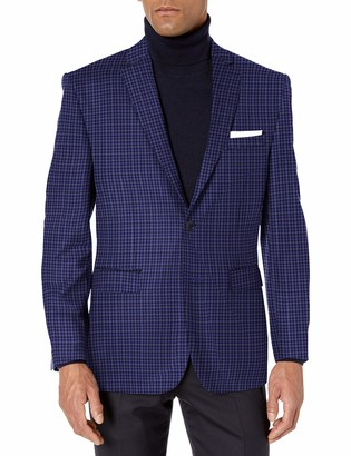 Vince Camuto Mens Two Button Modern Fit Texture Mini Check Blazer