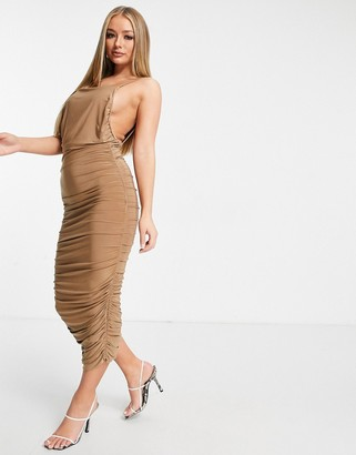 Club L London ruched detail midi dress with open back in camel