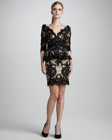 Sequined Lace Peplum Dress