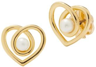 Kate Spade Infinite Hearts Glass Pearl Goldtone Stud Earrings