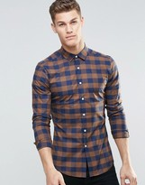 Asos Skinny Shirt In Brown Check With Long Sleeves