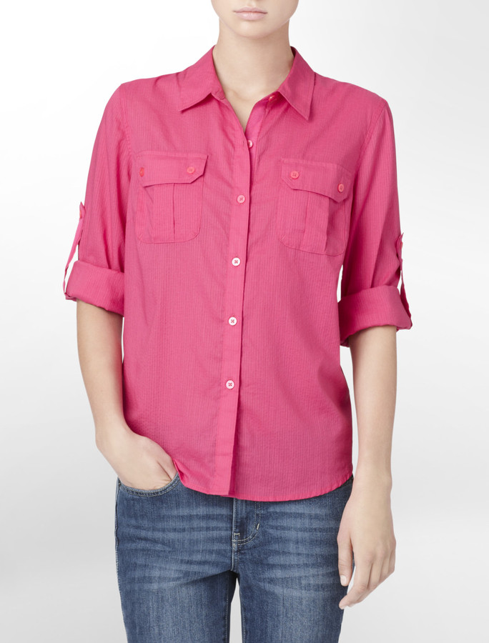 Calvin Klein Pink Dobby Thin Striped Roll-Up Shirt