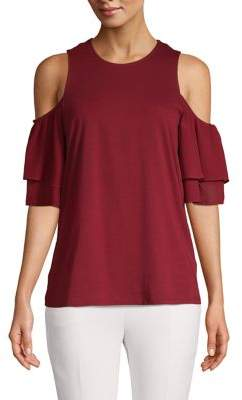 MICHAEL Michael Kors Cold-Shoulder Cotton-Blend Top